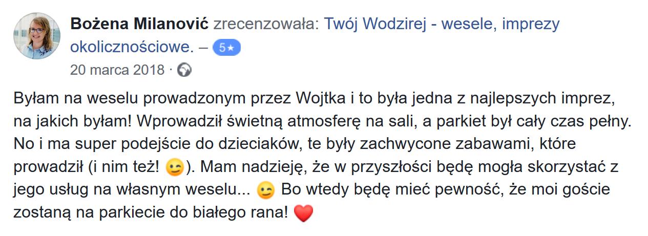 Bożena M. o fiermie Twój Wodzirej Wojciech Salamon