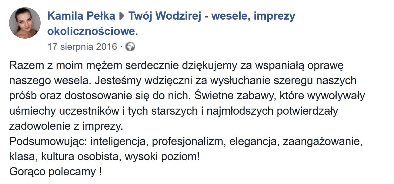 Kamila o Twój Wodzirej - Wojciech Salamon