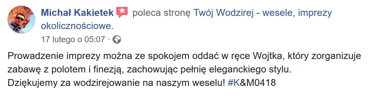 Opinie o Twój Wodzirej Wojciech Salamon