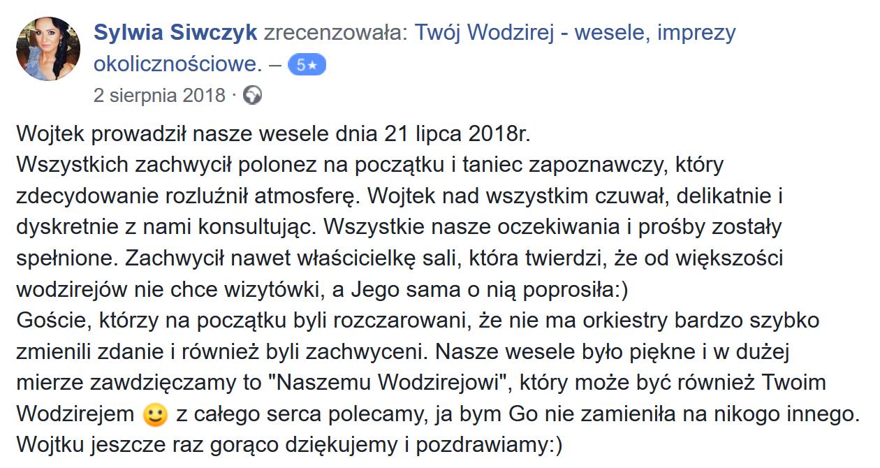 Wesele w Warszawie z wodzirejem.